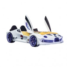 Premium Kids Racing White Double Car Bed