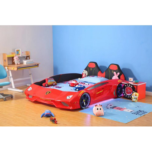 New Luxury 1.2M Width spacious Red Super Car Bed with real Music Play and LED Light