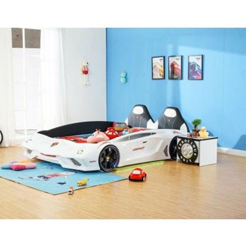 New Luxury 1.2M Width spacious White Super Car Bed with real Music Play and LED Light