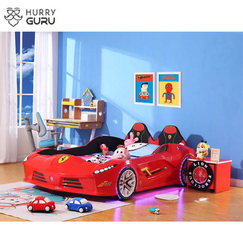 New Kids Car Bed  Front-Look Race Car Bed with LED Lights and Music Player, Red Color Kids Car Bed