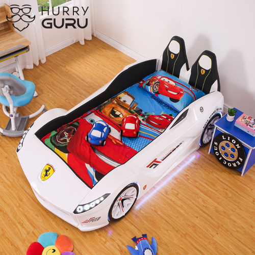 New Kids Car White Bed Front-Look Race Car Bed with LED Lights and Music Player, White Color Kids Car Bed