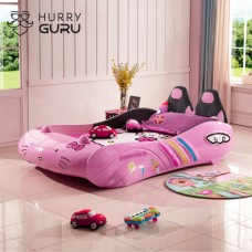 New Kids Car bed 1.2M with Pu Seats/ Music LED Head Light, Girls Race car bed, Pink