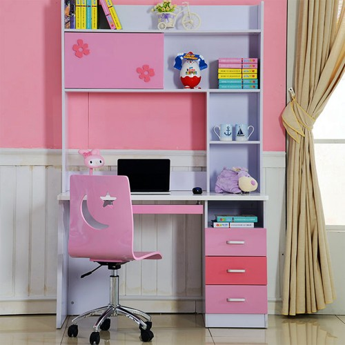 Study Table With Bookshelf Desk And Chair For Teen/Kids, Writing Desk 1.2m Pink  Durable HDF Quality