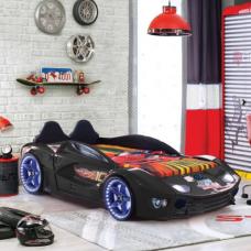 Luxury Kids Black Race Car Bed