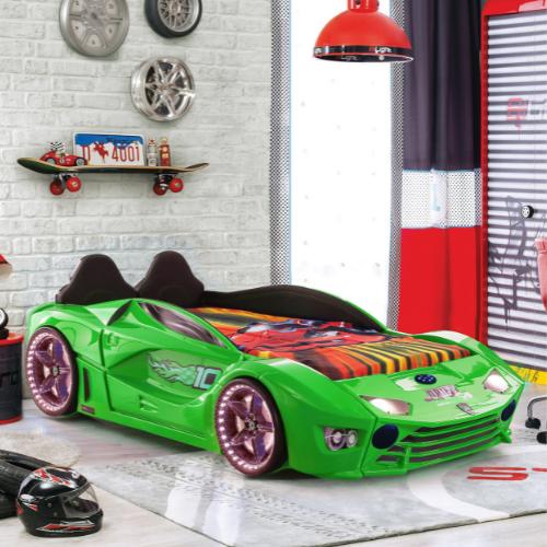 Luxury Kids Green Race Car Bed