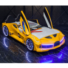 Luxury Race Yellow Car Bed Design For Little Champs