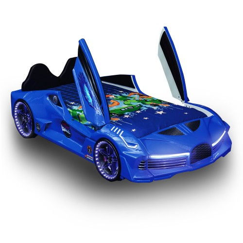 Premium Kids Racing Blue Double Car Bed