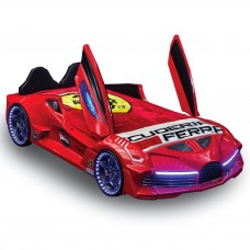 Premium Kids Racing Red Double Car Bed
