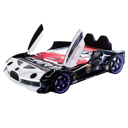 Police Racing Double Car Bed For Kids