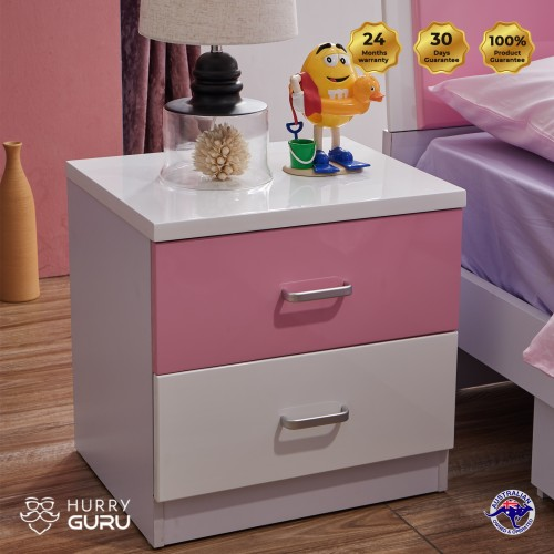 Colorful Bedside Table Cabinet Organizer with 2 Drawers Pink and White Unit Storage