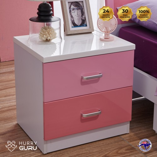 Colorful Bedside Table Cabinet Organizer with 2 Drawers Pink  Unit Storage