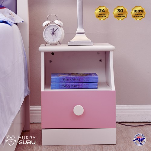 Colorful Stylish Pink Bedside Table Cabinet Organizer with Drawer Unit Storage