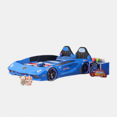 New Kids Car 1.2 M Blue  Bed with Luxury super Race car bed with Music LED light Door/Seats