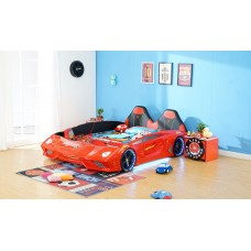 New Kids Car bed with Open Doors, Music, LED Lights on Wheel ,Head, Sides
