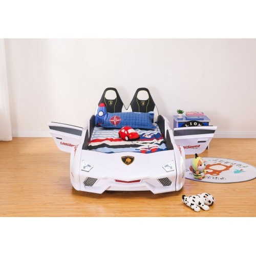 New Kids Car White Bed with Luxury super Race car bed with Music LED light Door/Seats