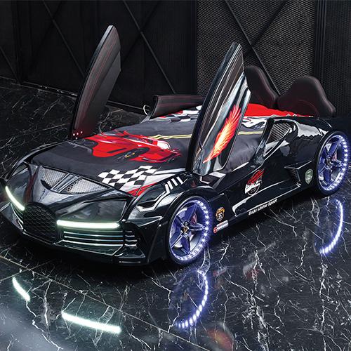 Luxury Race Black Car Bed Design For Little Champs