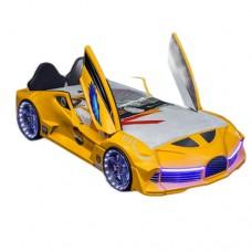 Premium Kids Racing Yellow Double Car Bed