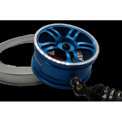 Metal Wheel Rim Key Chain with Automotive Shock Absorber Shape Keyrings Keychain