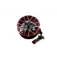 Car Key Chain Metal Hub Rim with Leather Rope and Shock Absorber Shape Keyrings