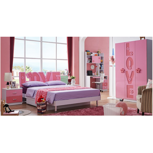 New Kids Love Bed for Girl Bedroom Furniture HDF Quality Full Set, Bed with Love Frame and Accessories