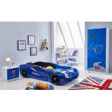 New Kids Race Car Bed Blue with Music 8 GB Memory card LED wheel/Head/Side lights