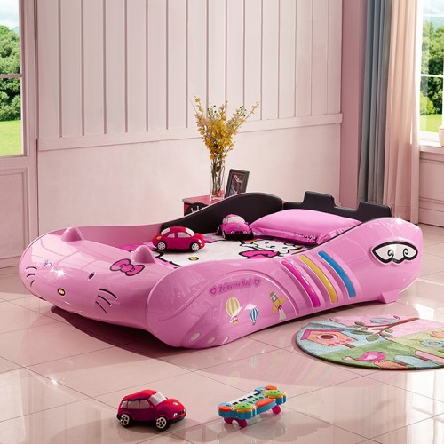 New Kids Car bed with Pu Seats/ Music LED Head Light, Girls Race car bed, Pink