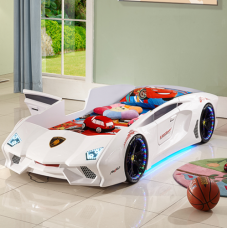 New Kids Car Bed Race Car Bed with Music Play and LED Decor Lights, White Color Kids Card Bed