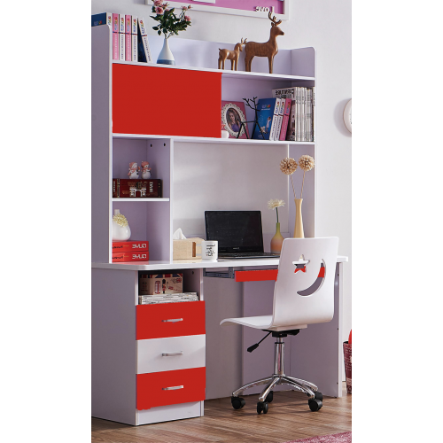Kids Study Table and chair with bookshelf & Desk for Teens Living/Bed Room, Red