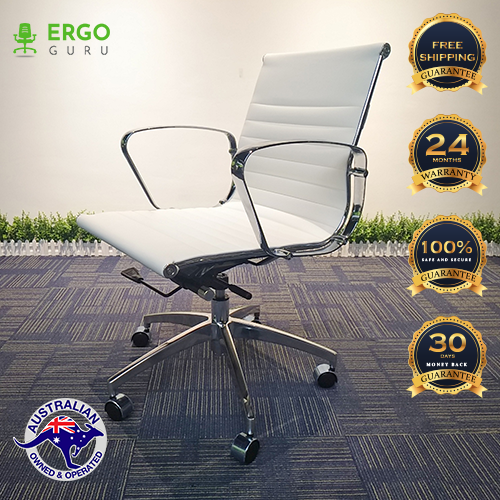 White Office Chair PU Leather Mid Back Adjustable Executive Gaming Seat