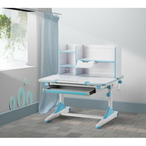 New Kids Study Table Blue ,open book shelf Adjustable height Handle boys girls teen