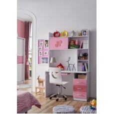 Kids Study Table and chair with bookshelf & Desk for Teens Living/Bed Room, Pink