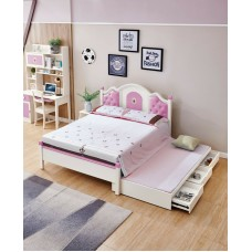 Double Trundle Bed set for Girls/ Teen/ Children with Bed storage and side Table