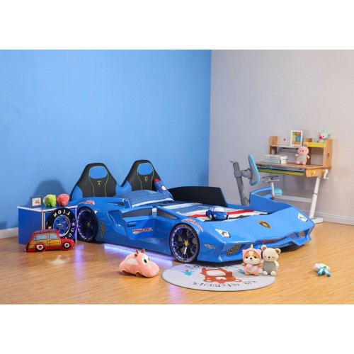 New Kids Car Bed  Front-Look Race Car Bed with LED Lights and Music Player, Blue Color Kids Car Bed